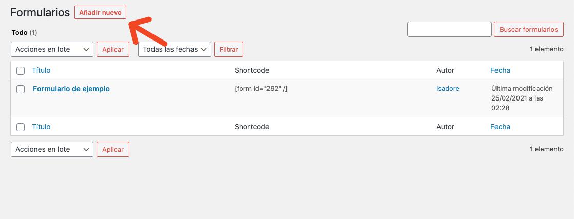 Añadir nuevo formulario de contacto en WordPress