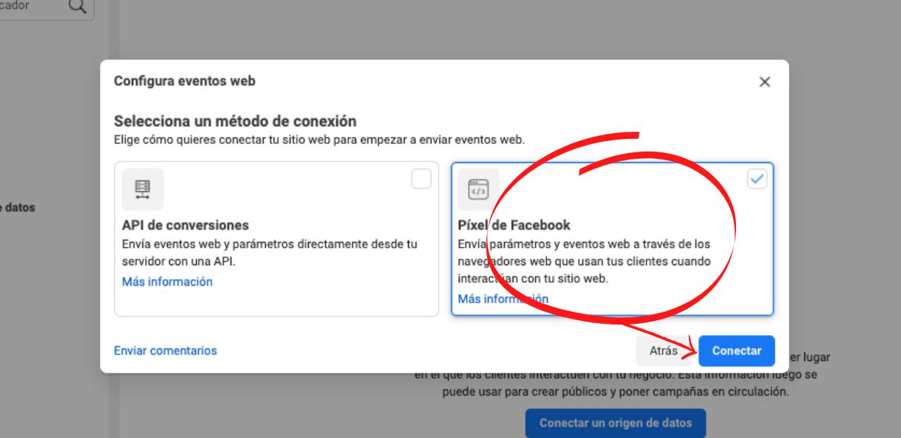 Cómo crear un píxel de Facebook para tu sitio web: selecciona el píxel y haz clic en «Conectar»