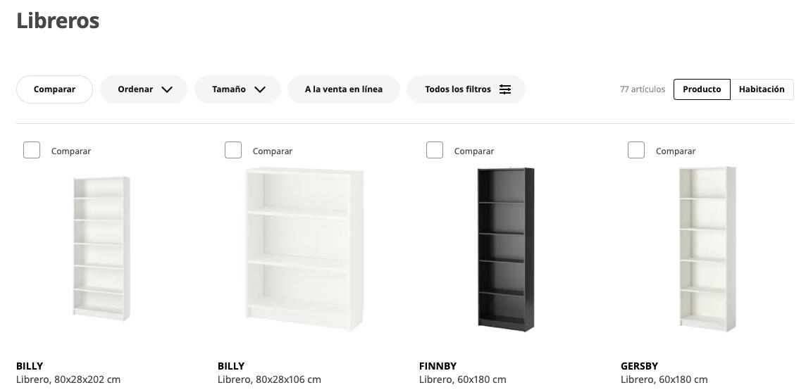 Ejemplo de características de producto de Ikea