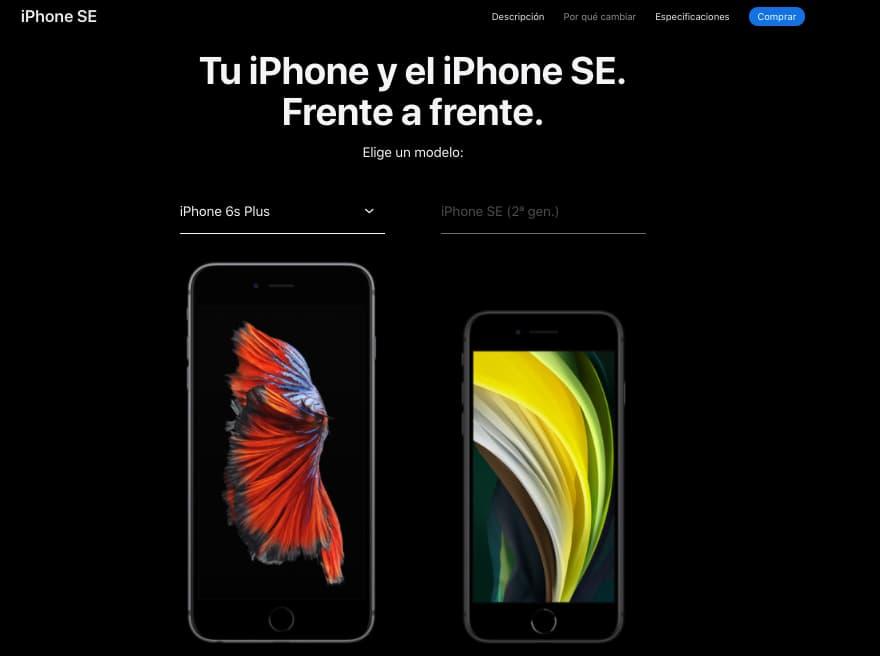 Ejemplo de características de producto de Apple