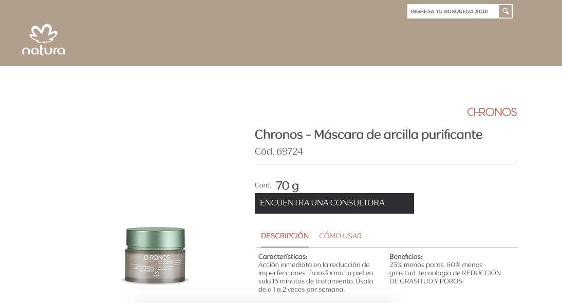 Ejemplo de descripción de producto de Natura