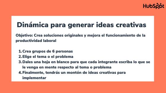 Dinámicas de integración para generar ideas creativas