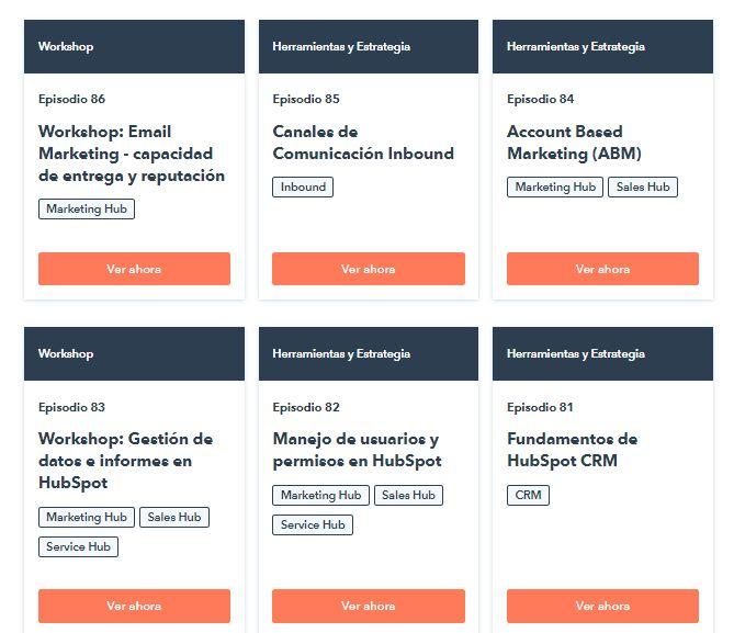 Ejemplo de distribución de contenido: webinarios