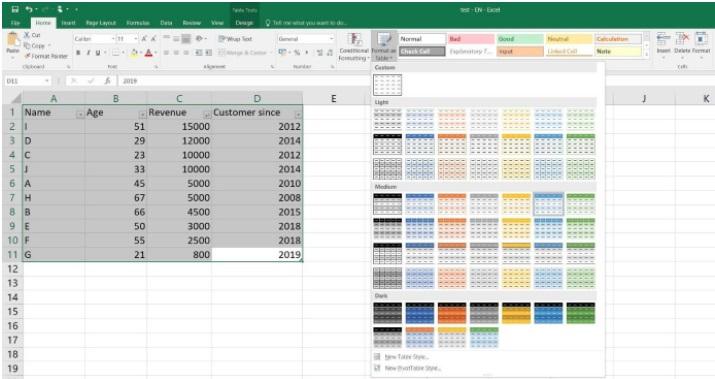 Atajos de Excel: cómo crear tablas