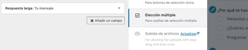 Formulario de contacto en WordPress: elección múltiple