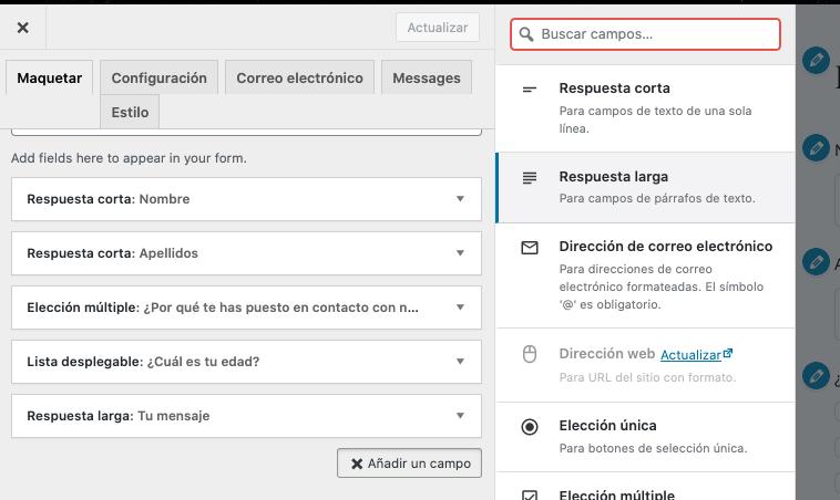 Formulario de contacto en WordPress: respuesta corta