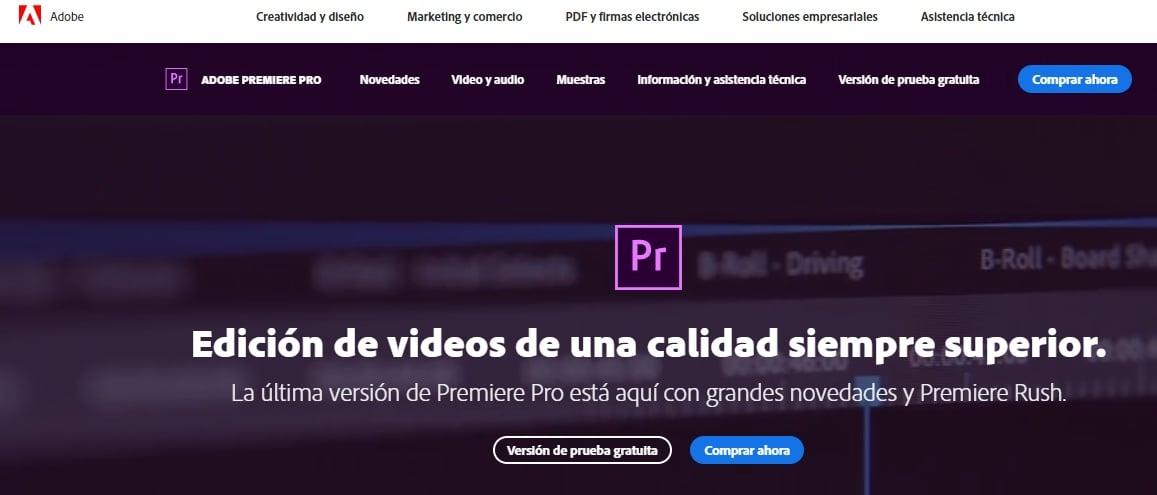 Editor de videos de YouTube: Adobe Premiere