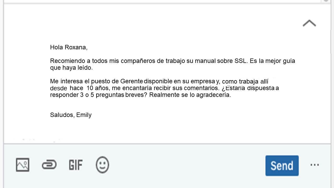 Ejemplo de InMail para postulación