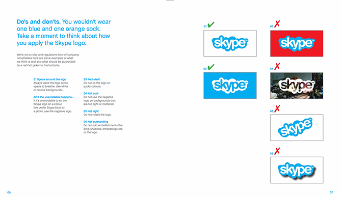 Ejemplo de manual de identidad corporativa: Skype