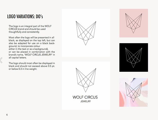 Ejemplo de brand book: Wolf Circus Jewelry