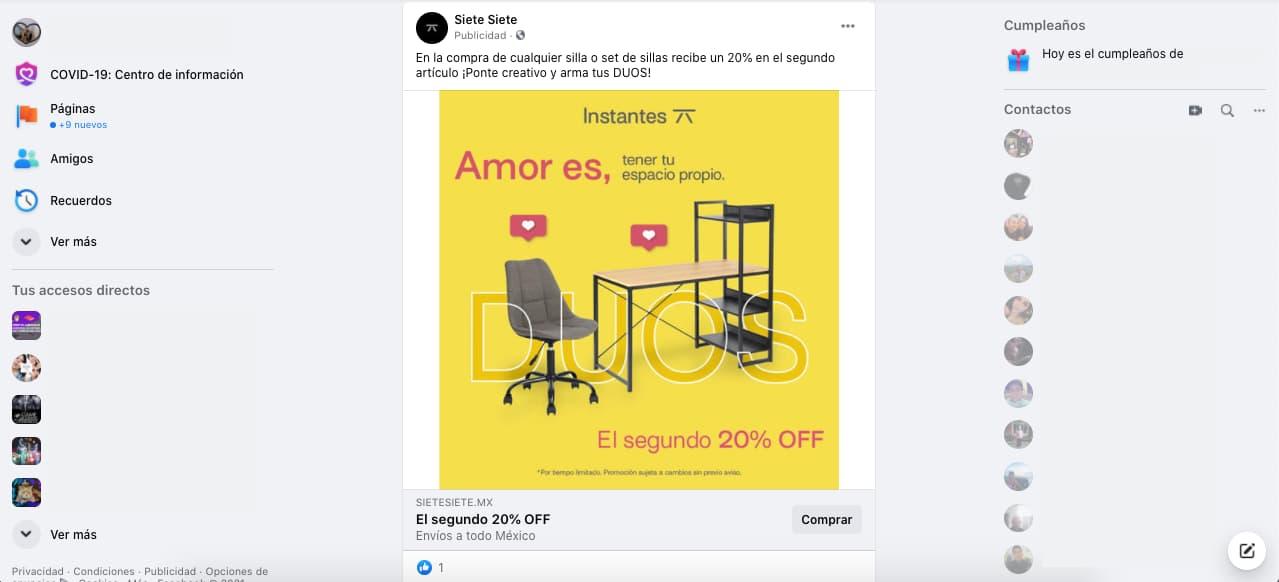 Ejemplo de remarketing de Facebook: anuncio de la tienda electrónica Siete Siete después de haber visitado su sitio web