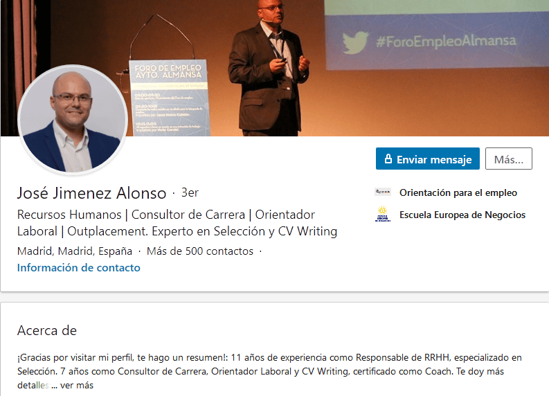 Ejemplo de extracto de LinkedIn: José Jiménez Alonso