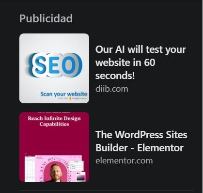 Ejemplo de anuncio de Facebook: publicidad en la barra derecha