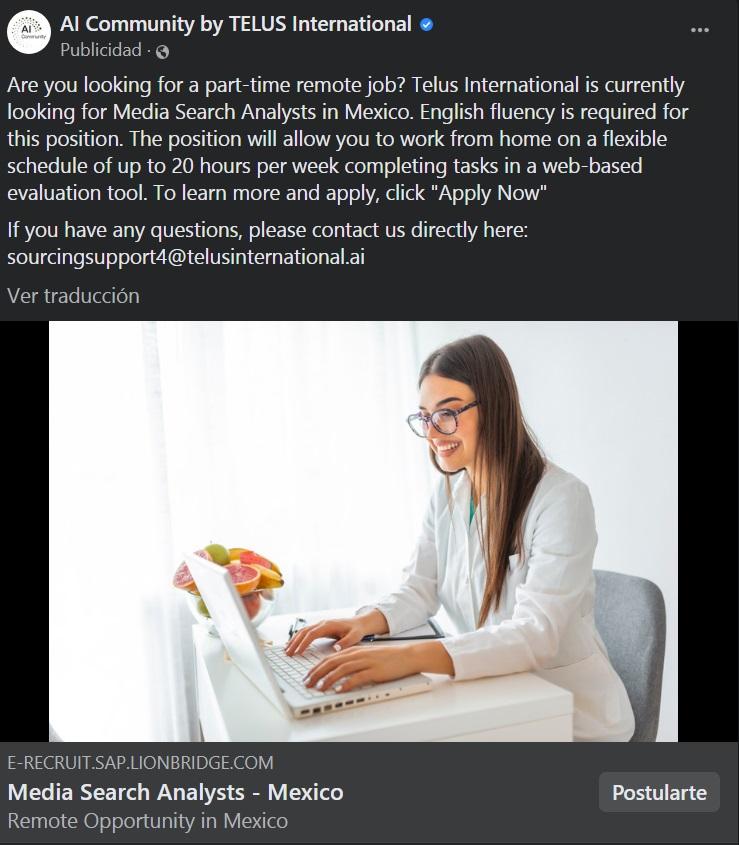Ejemplo de anuncio de Facebook: publicidad de AI Community