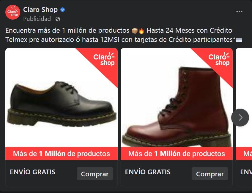 Ejemplo de anuncio de Facebook: publicidad de Claro Shop