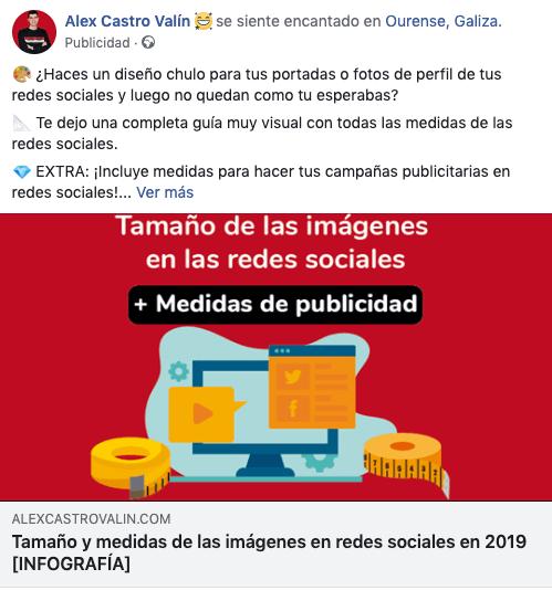 Ejemplo de anuncio de Facebook: publicidad de Alex Castro Valín