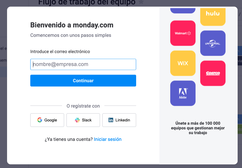 Ejemplos de formularios de contacto breves: Monday