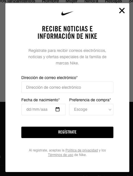 Ejemplos de formularios de contacto rápidos: Nike
