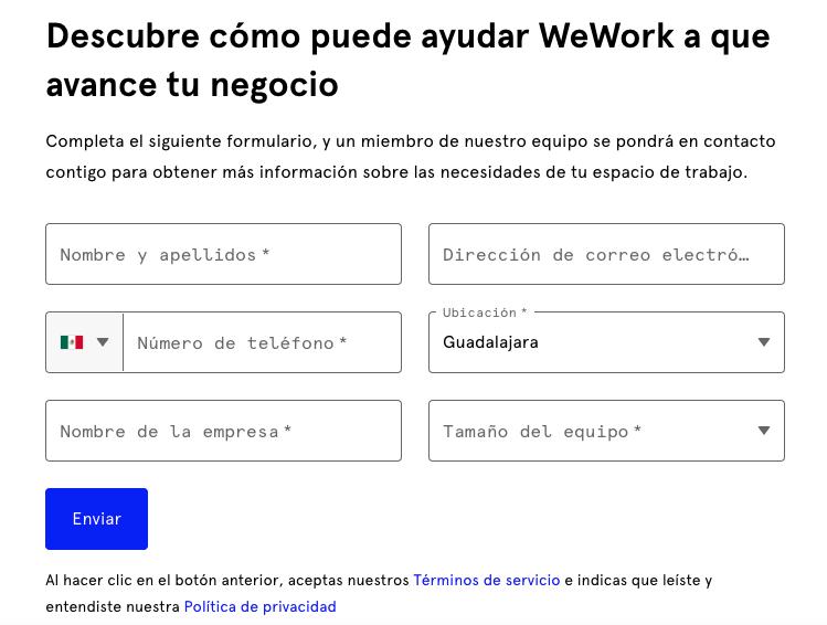 Ejemplos de formularios de contacto: WeWork