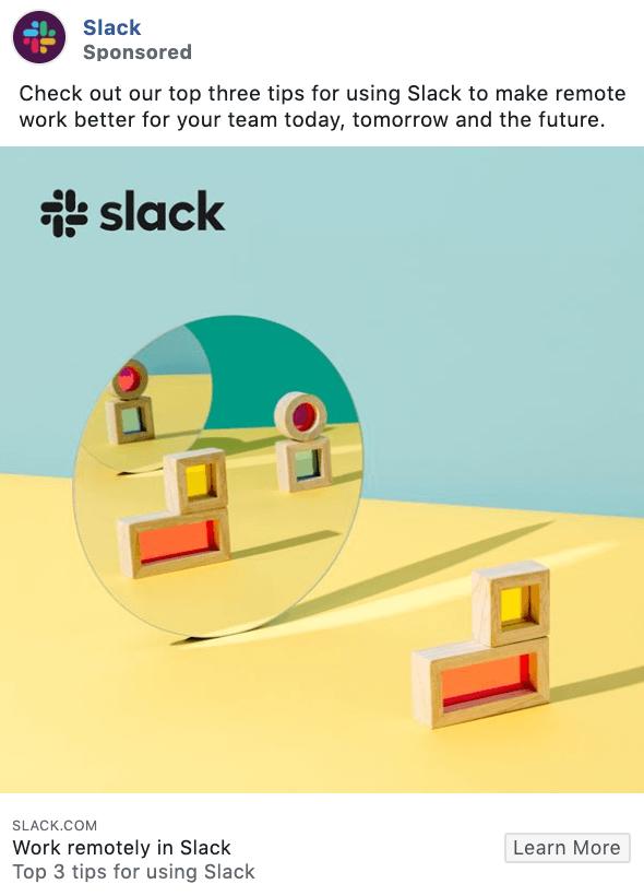Ejemplo de anuncio de Facebook: publicidad de Slack con GIF