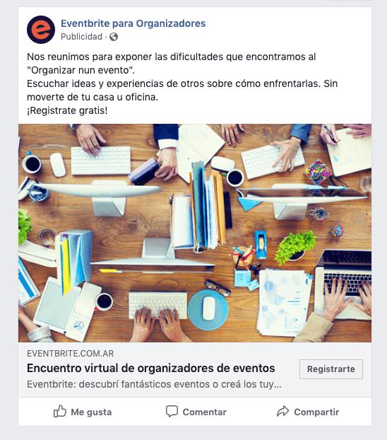 Ejemplo de anuncio de Facebook: publicidad de Eventbrite