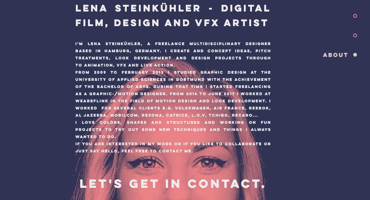 Ejemplo de página web elegante de Lena Steinkühler