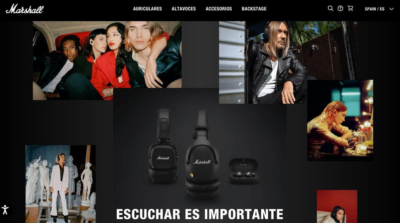 Ejemplo de página web elegante de Marshall
