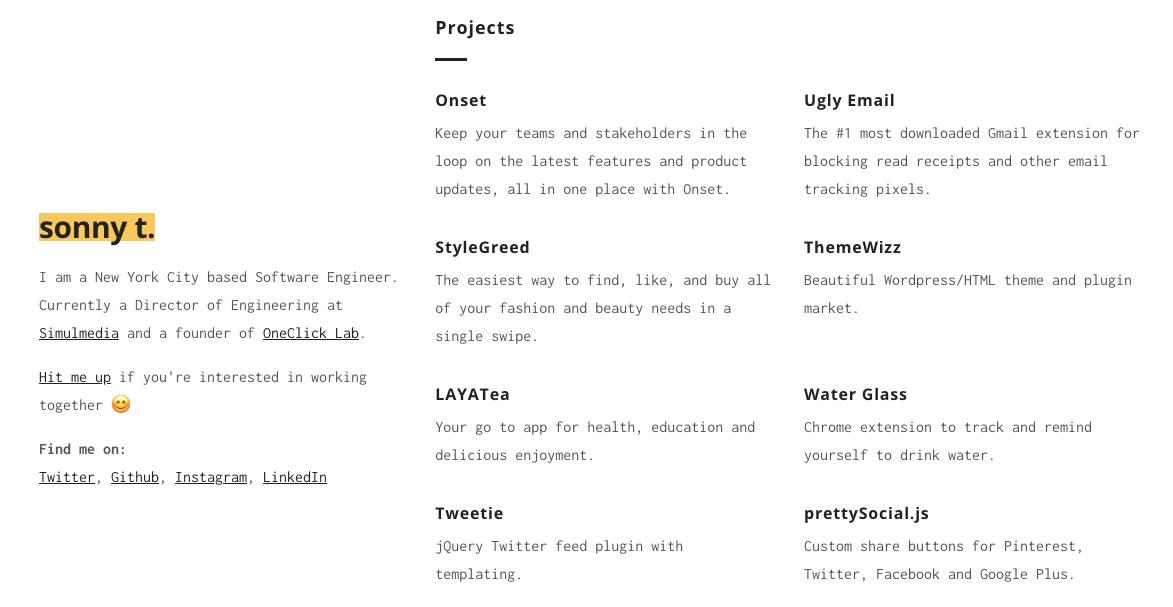 Ejemplo de página web sencilla de sonny t.