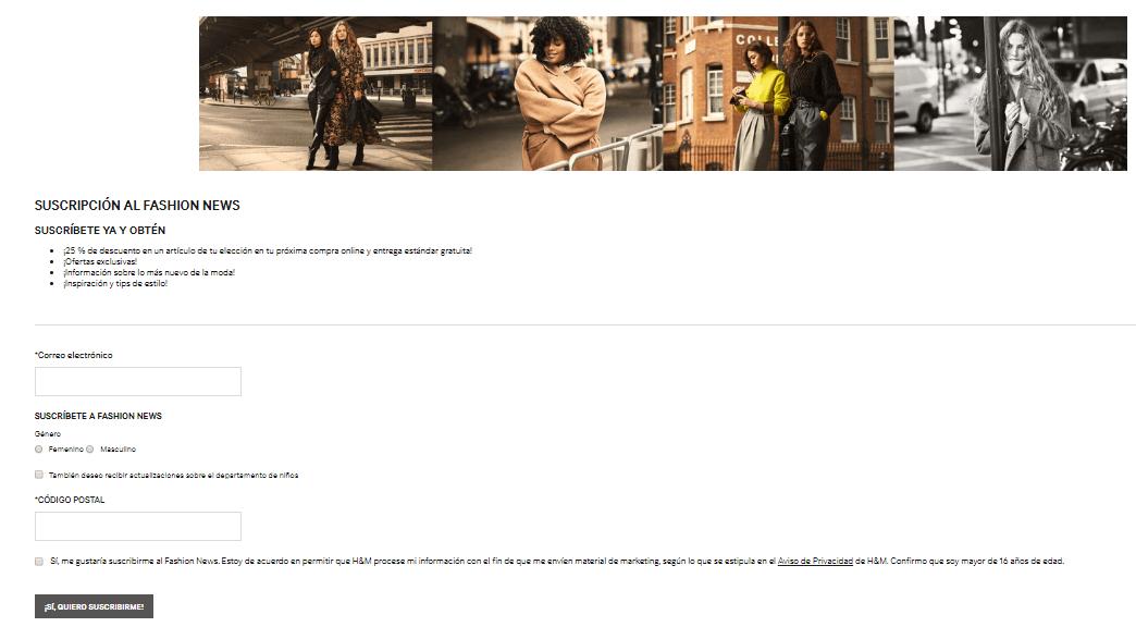 H&M, ejemplo de formulario fácil de llenar