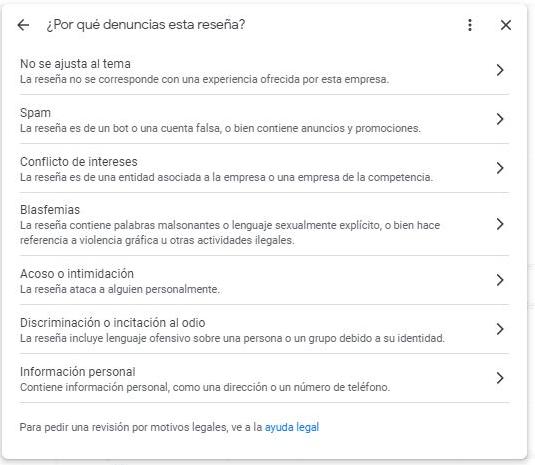 Desactivar una reseña de Google (marcar como inadecuada)
