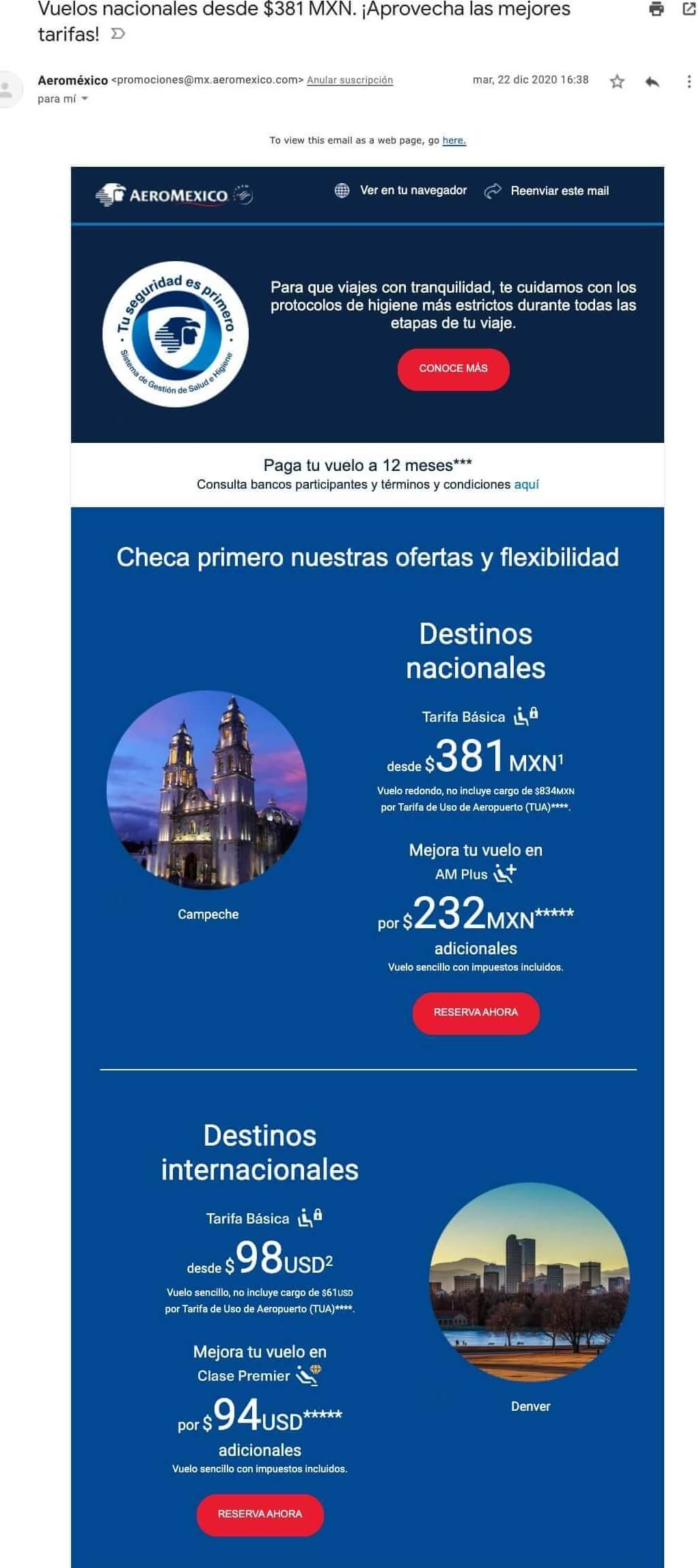 Ejemplos de correos electrónicos de empresas: Aeroméxico