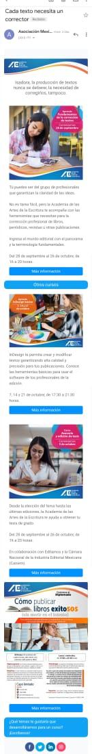 Ejemplo de mailing de la Asociación Mexicana de Profesionales de la Edición