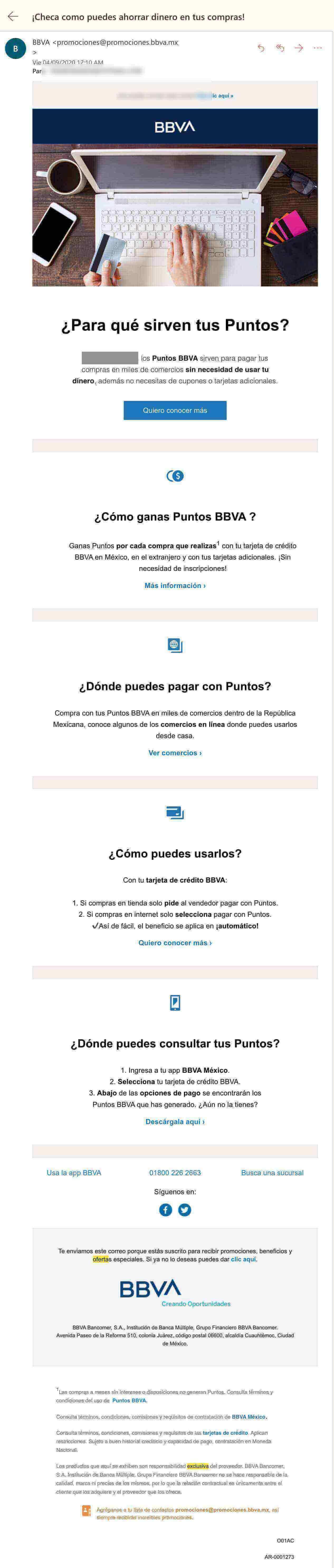 Campaña de mailing de BBVA