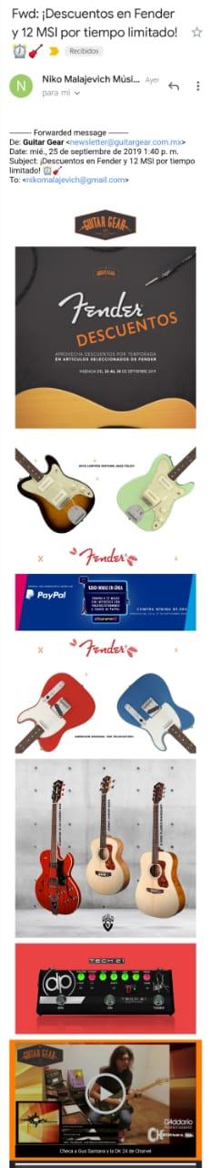 Ejemplo de email marketing de Guitar Gear