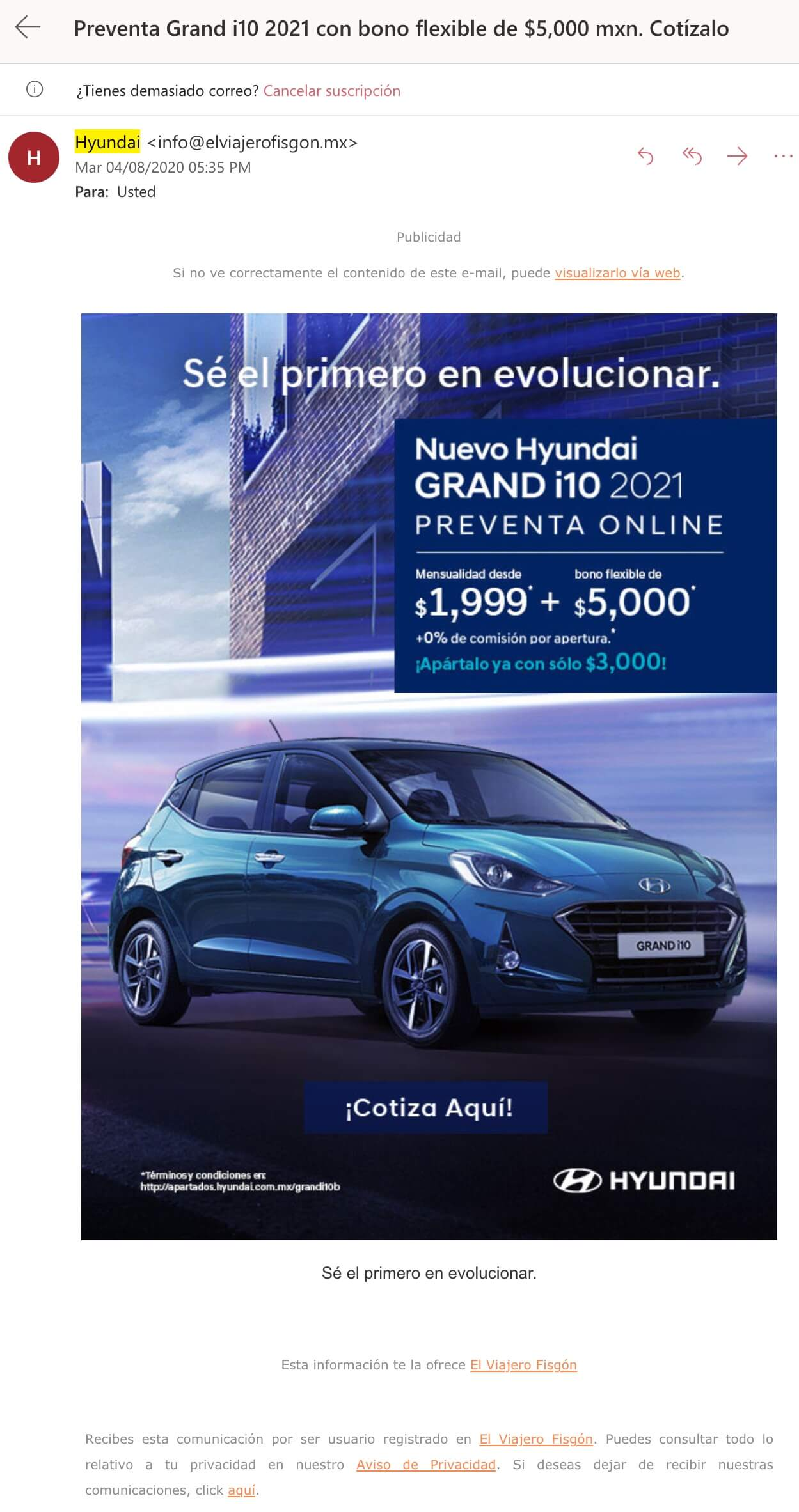 Campaña de mailing de Hyundai
