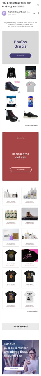 Ejemplo de email marketing de Kichink