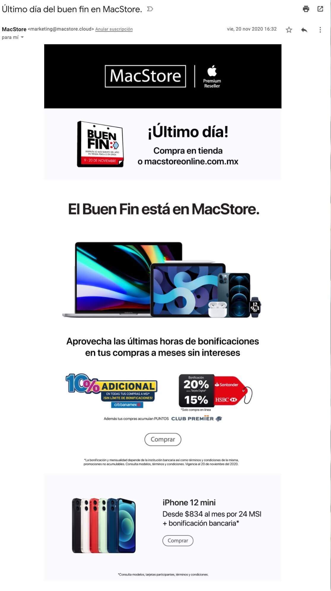 Ejemplos de correos electrónicos de empresas: MacStore