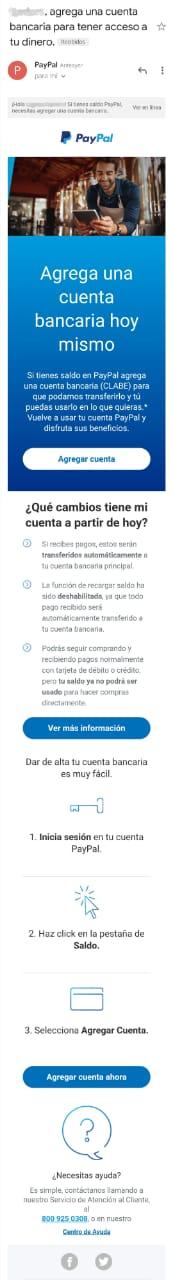 Ejemplo de email marketing de PayPal