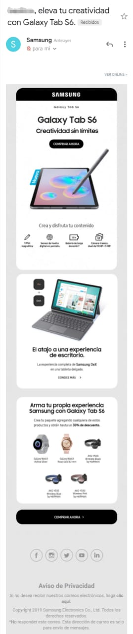 Ejemplo de email marketing de Samsung