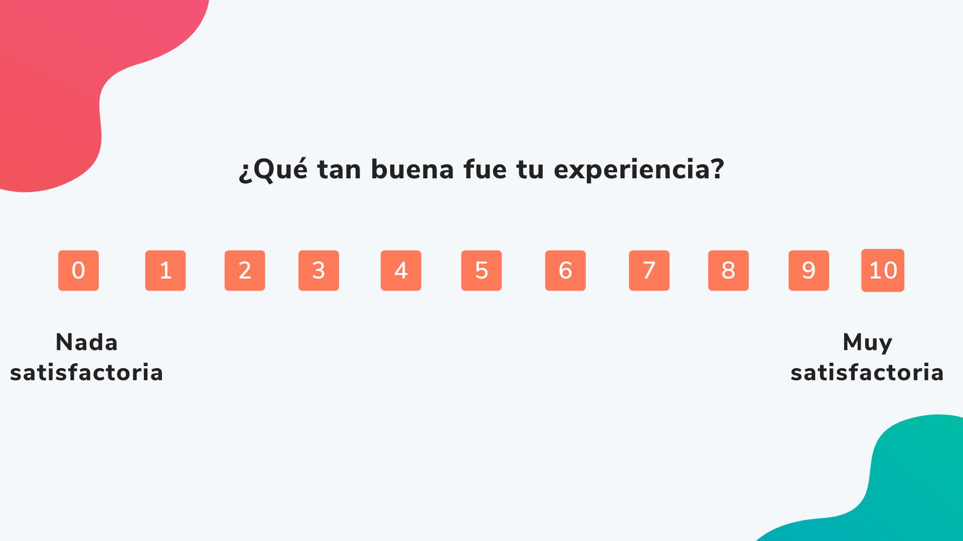 Cómo hacer una encuesta de satisfacción NPS: pregunta sobre nivel de experiencia