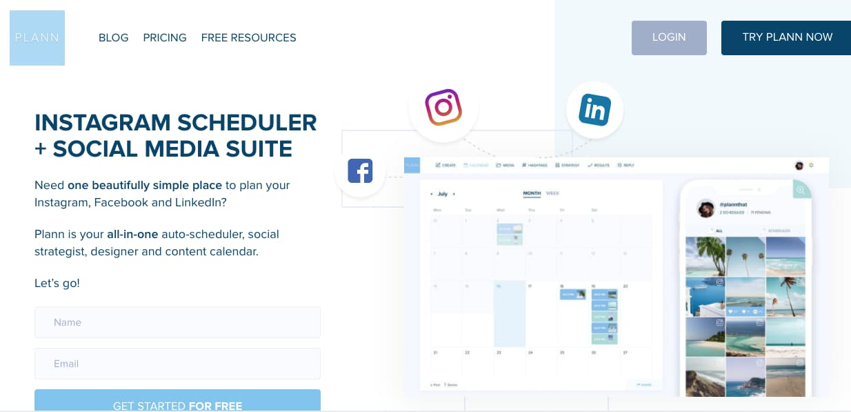 Plann, plataforma para obtener etadísticas de Instagram gratis