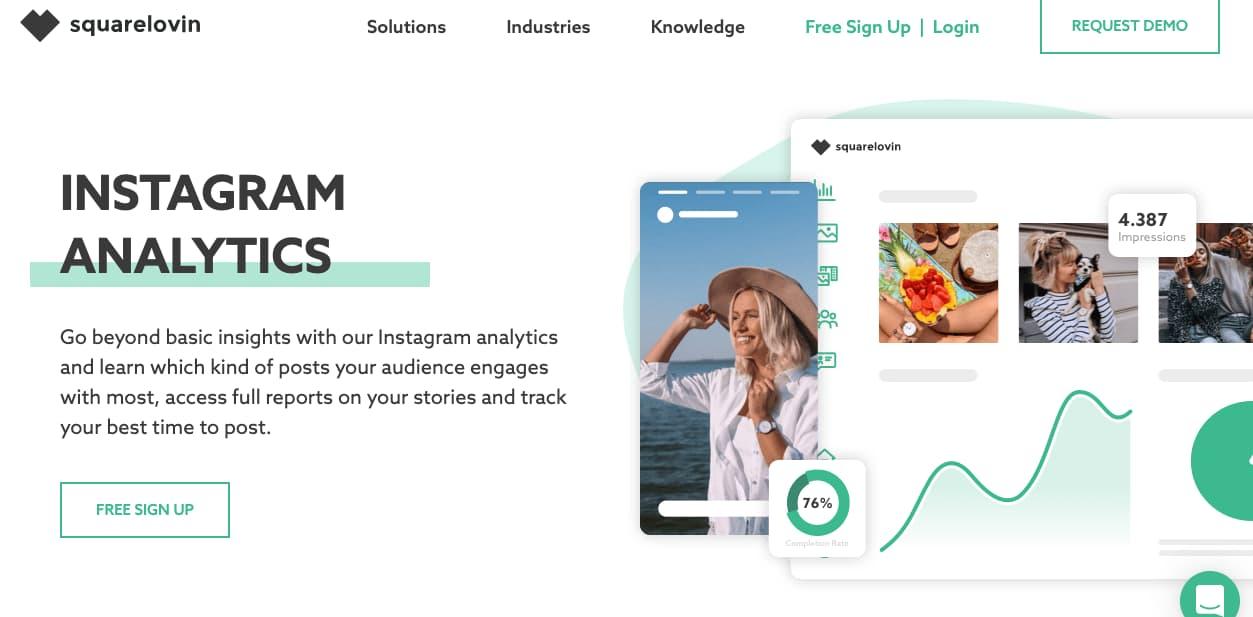Herramientas para obtener estadísticas de Instagram gratis: Squarelovin