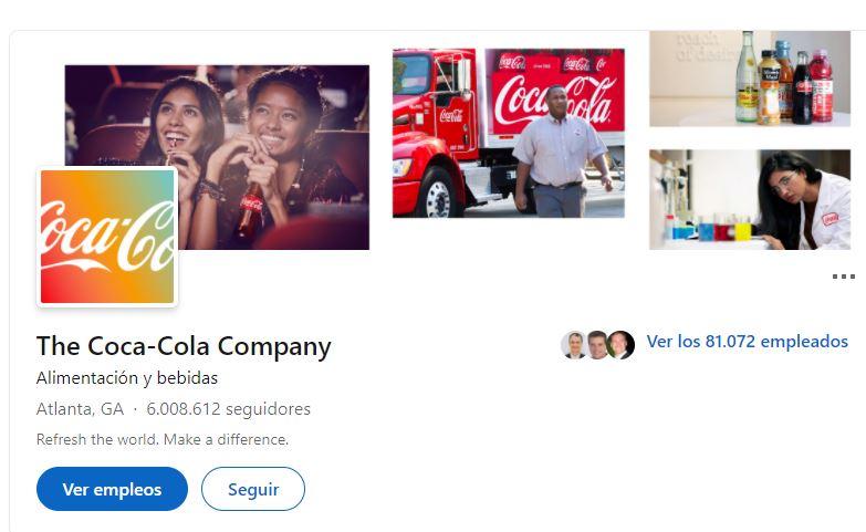 Ejemplo de consistencia en estrategia de branding: Coca-Cola en LinkedIn