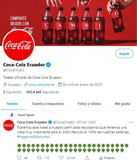 Ejemplo de consistencia en estrategia de branding: Coca-Cola en Twitter