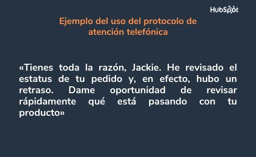 Ejemplo del uso de las técnicas de atención telefónica: lenguaje apropiado