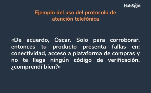 Etiqueta telefónica: ejemplo de escucha activa