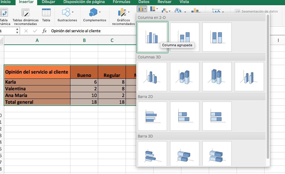 Cómo hacer gráficas de barras en Excel: selecciona los datos