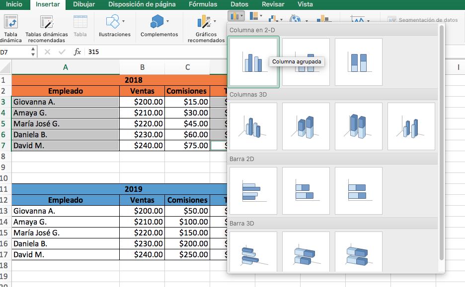 Cómo hacer una gráfica comparativa en Excel: selecciona los datos