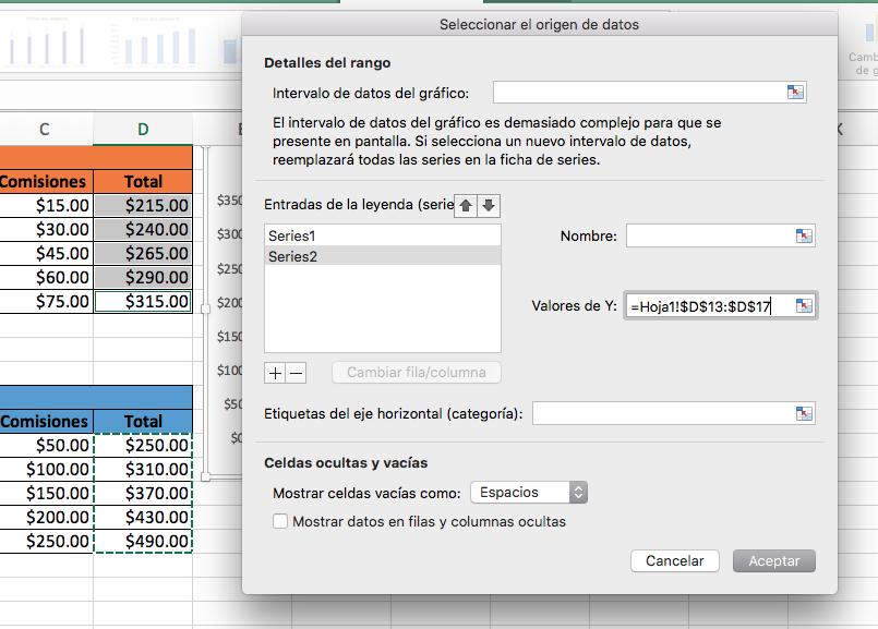 Cómo hacer una gráfica comparativa en Excel: valores de Y