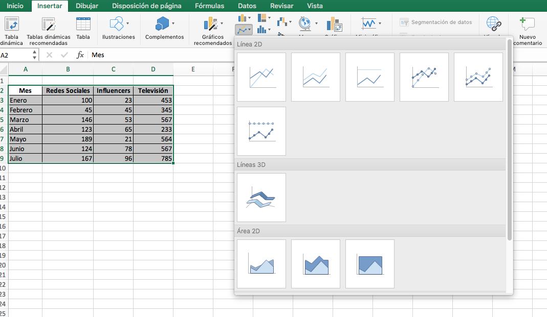 Cómo hacer una gráfica lineal en Excel: selección de datos